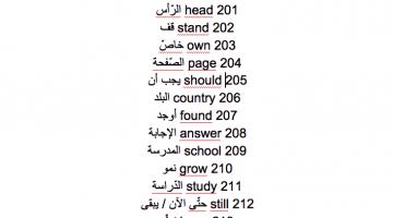 ملف pdf يتضمن 300 كلمة انجليزية شائعة – تنزيل مباشر
