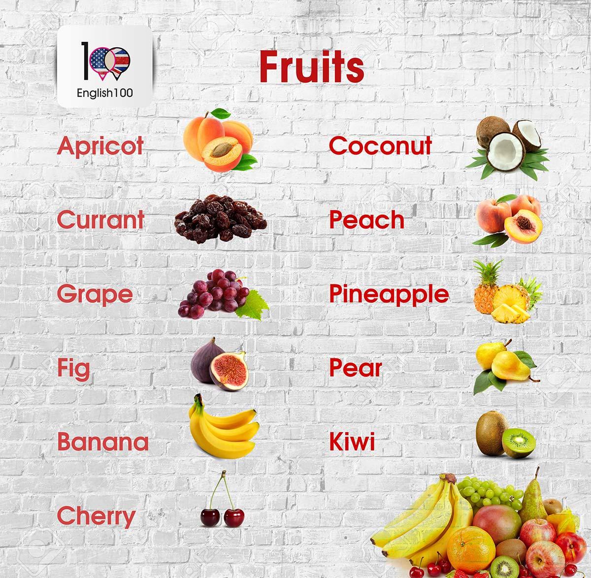 الفواكه باللغة الانجليزية