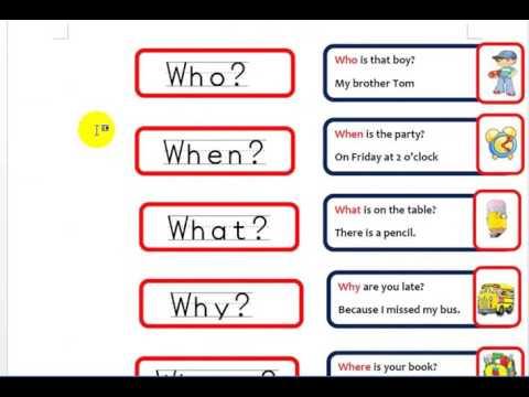 تكوين السؤال فى اللغة الانجليزية