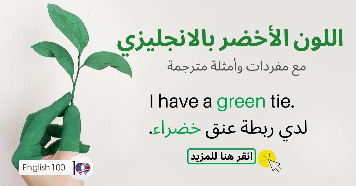 اخضر بالانجليزي مع أمثلة Green in English with examples