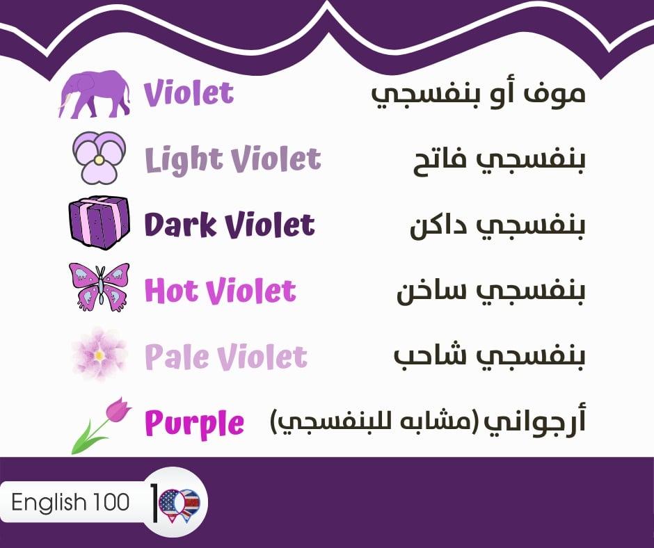 درجات لون موف بالانجليزي Shades of violet color in English