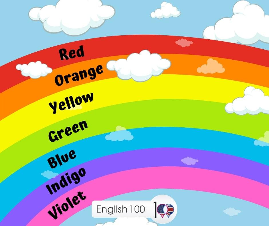 الوان قوس قزح بالانجليزي Colors of the rainbow in English