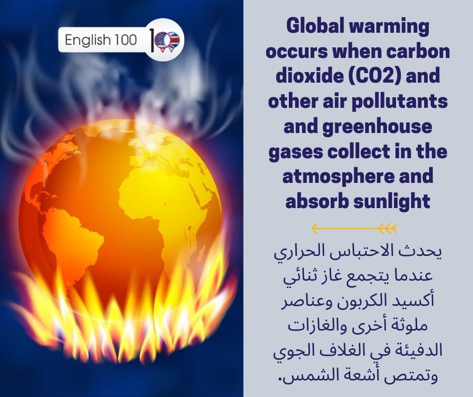 الاحتباس الحراري بالانجليزي The global warming in English