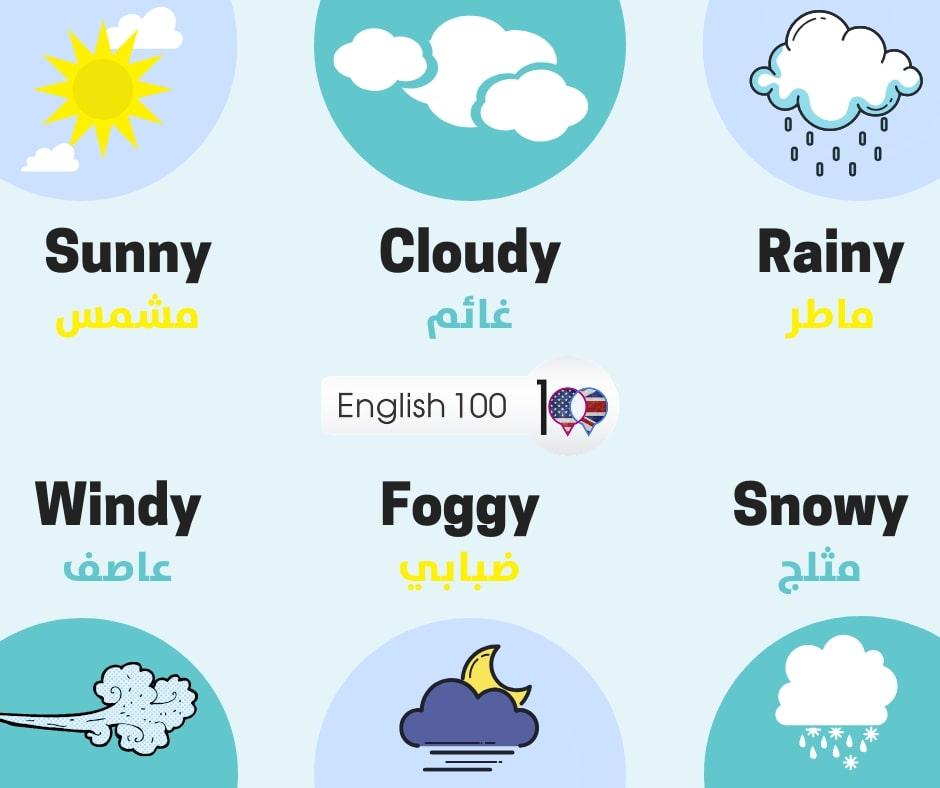 حالات الطقس بالانجليزي Weather conditions in English
