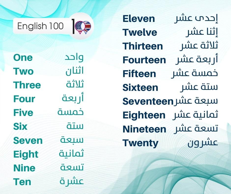 الارقام بالانجليزية English 100