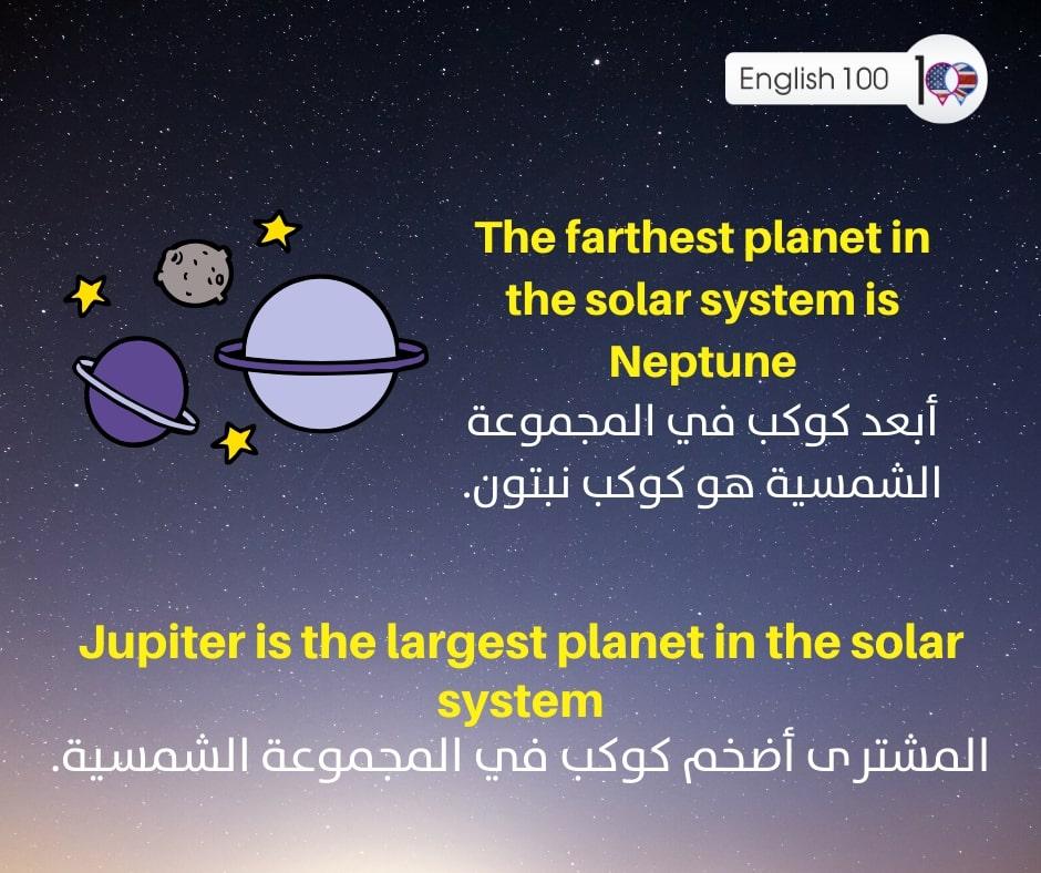 المجموعة الشمسية بالانجليزي The Solar System in English