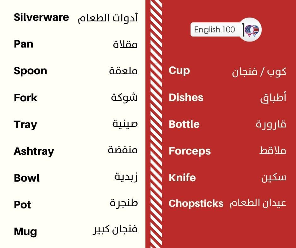 اسماء ادوات المطبخ بالانجليزي Names of the kitchenware in English