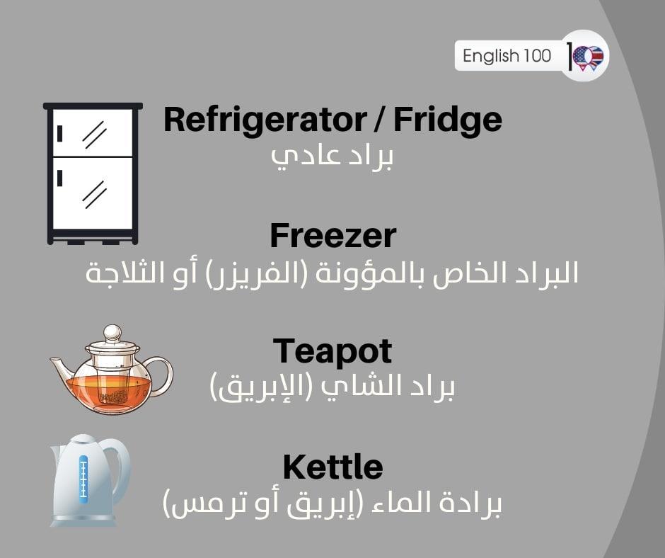 براد بالانجليزي Refrigerator in English