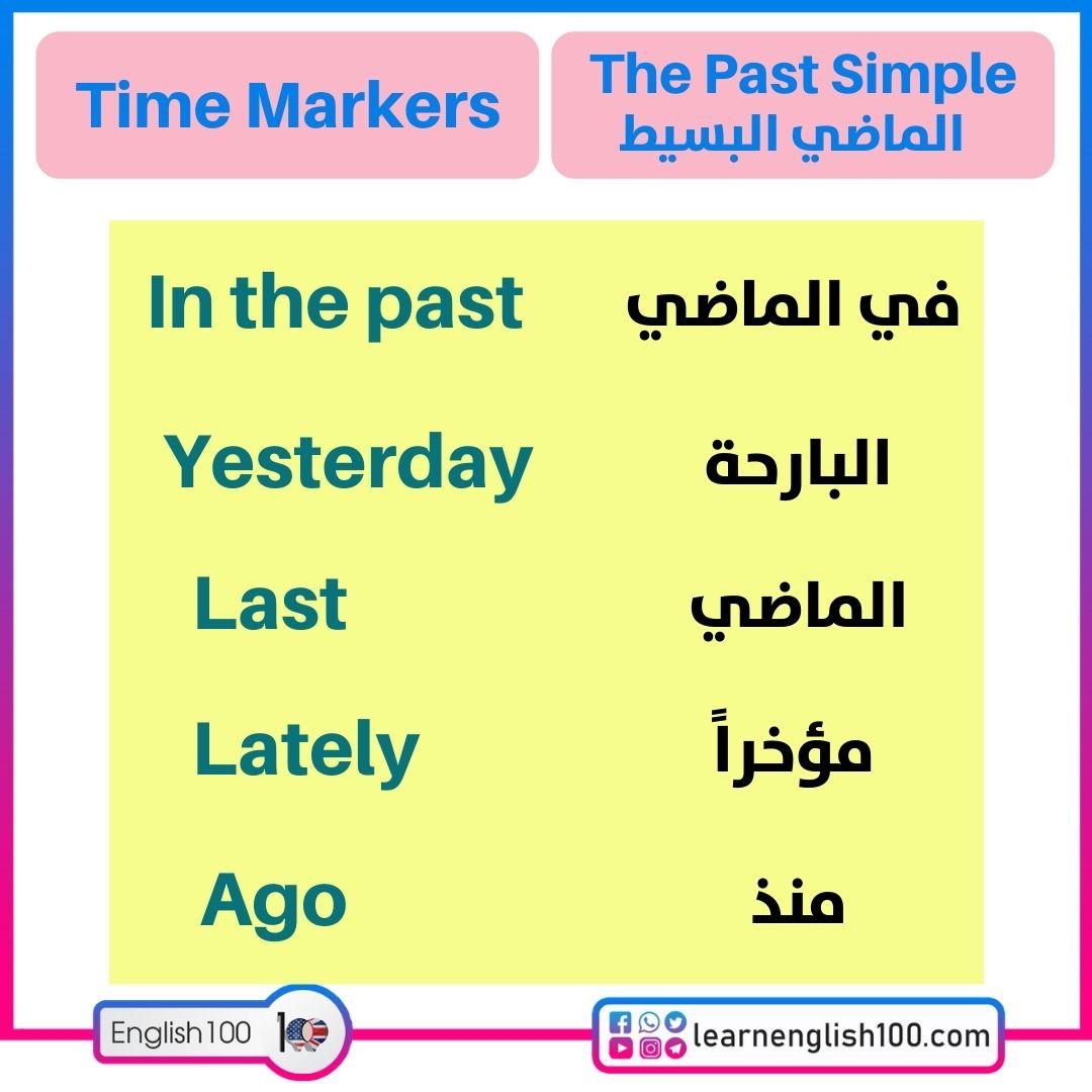 كلمات دلالية-past simple شرح Past Simple Explanation-Time Markers
