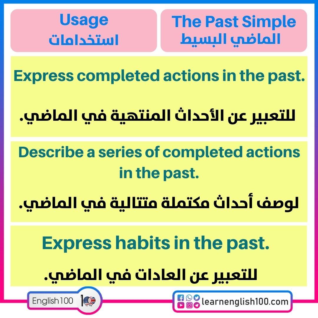 الاستخدامات-past simple شرح Past Simple Explanation-Usage