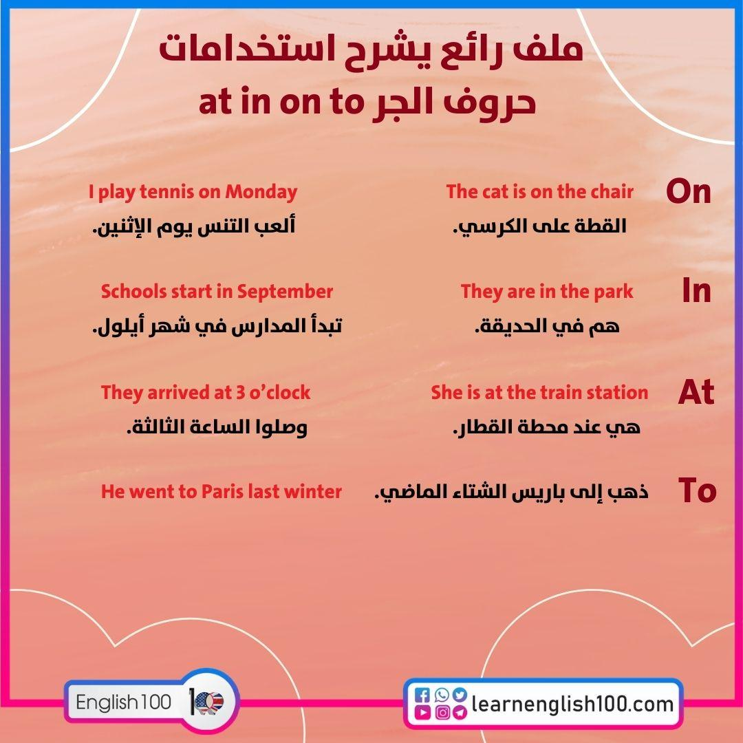 ملف رائع يشرح استخدامات حروف الجر at in on to An excellent file explaining how to use the prepositions On – In – At – To