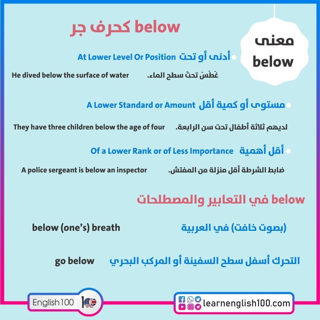 معنى below Below Meaning