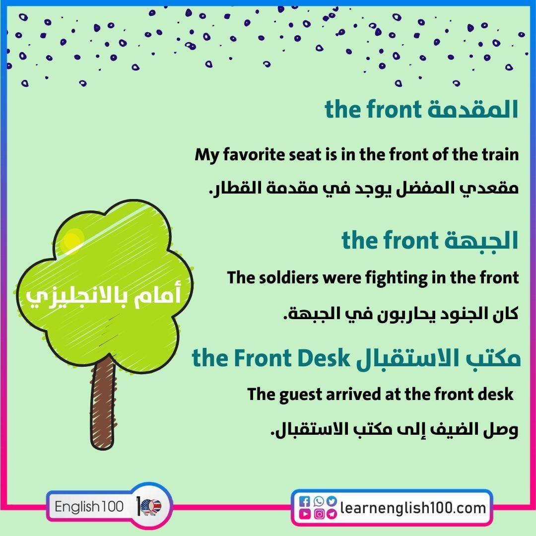 امام بالانجليزي in front of in English