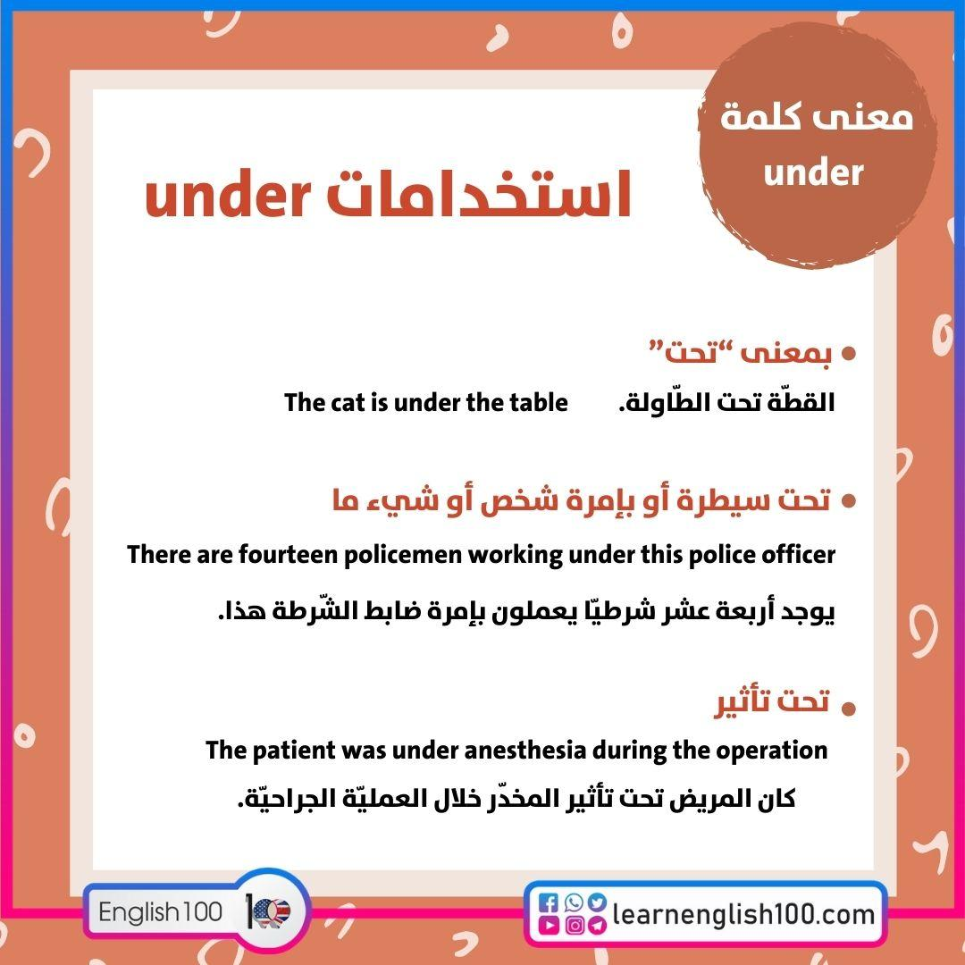 معنى كلمة under the meaning of under