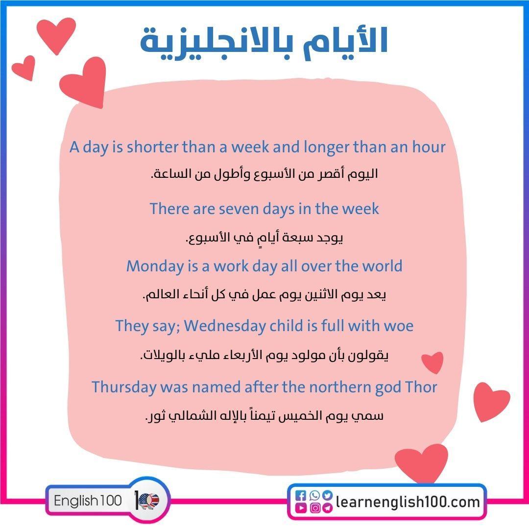 الايام بالانجليزية Days of the Week in English - learn