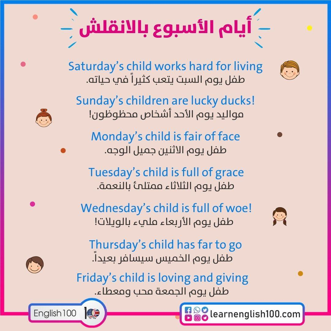ايام الاسبوع بالانقلش Days of the Week in English - study