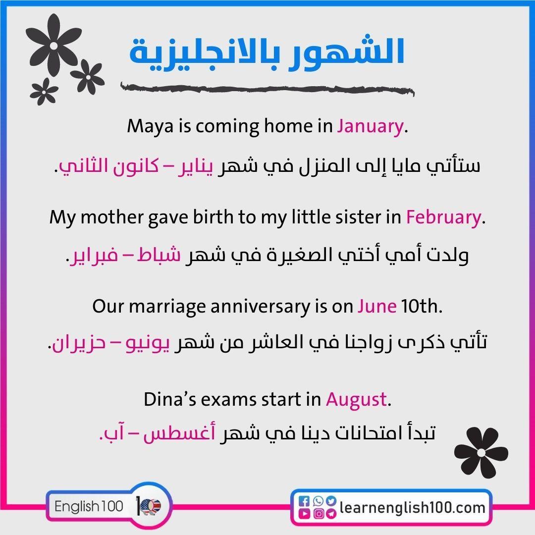 الشهور بالانجليزية Months in English - all