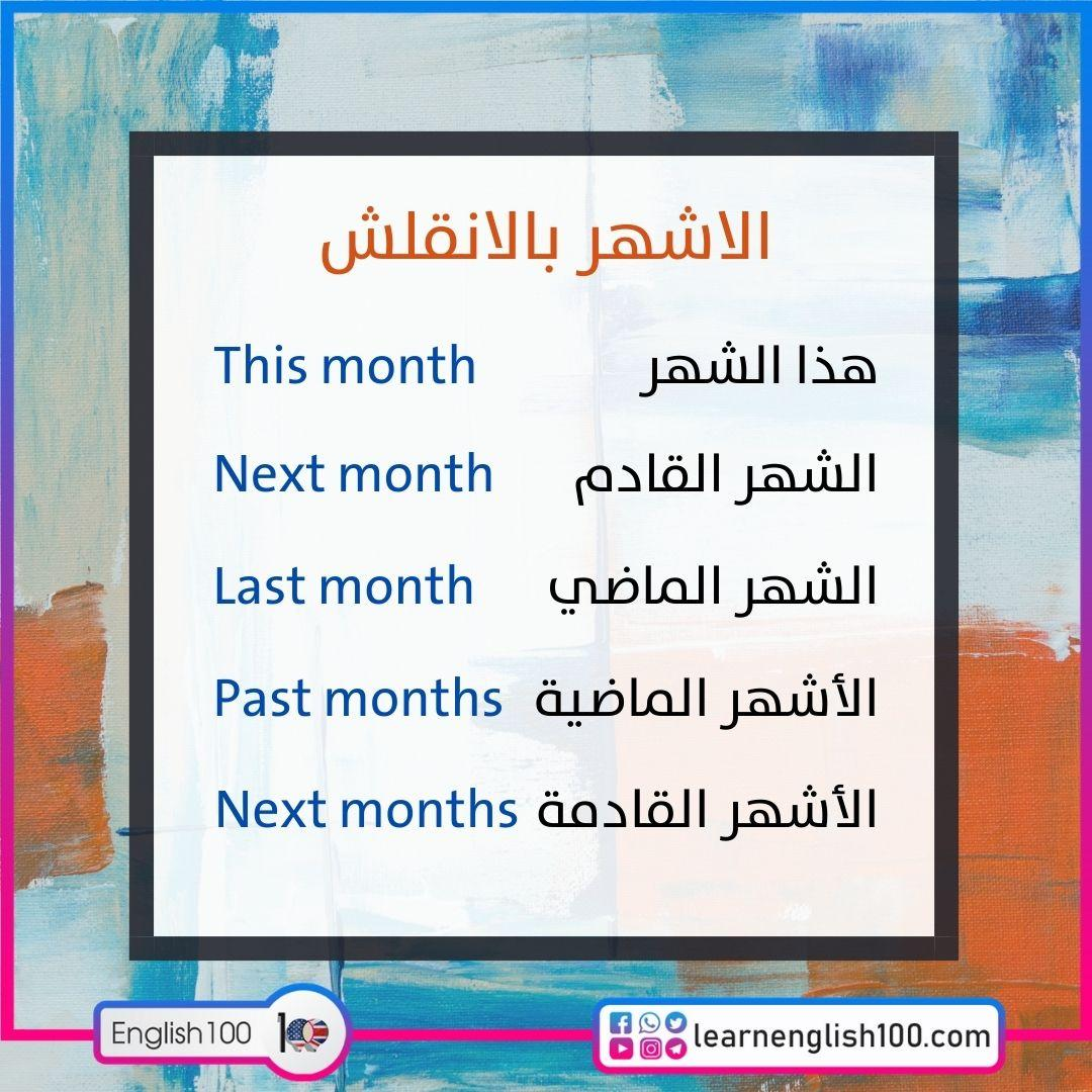 الاشهر بالانقلش Months in English - translated