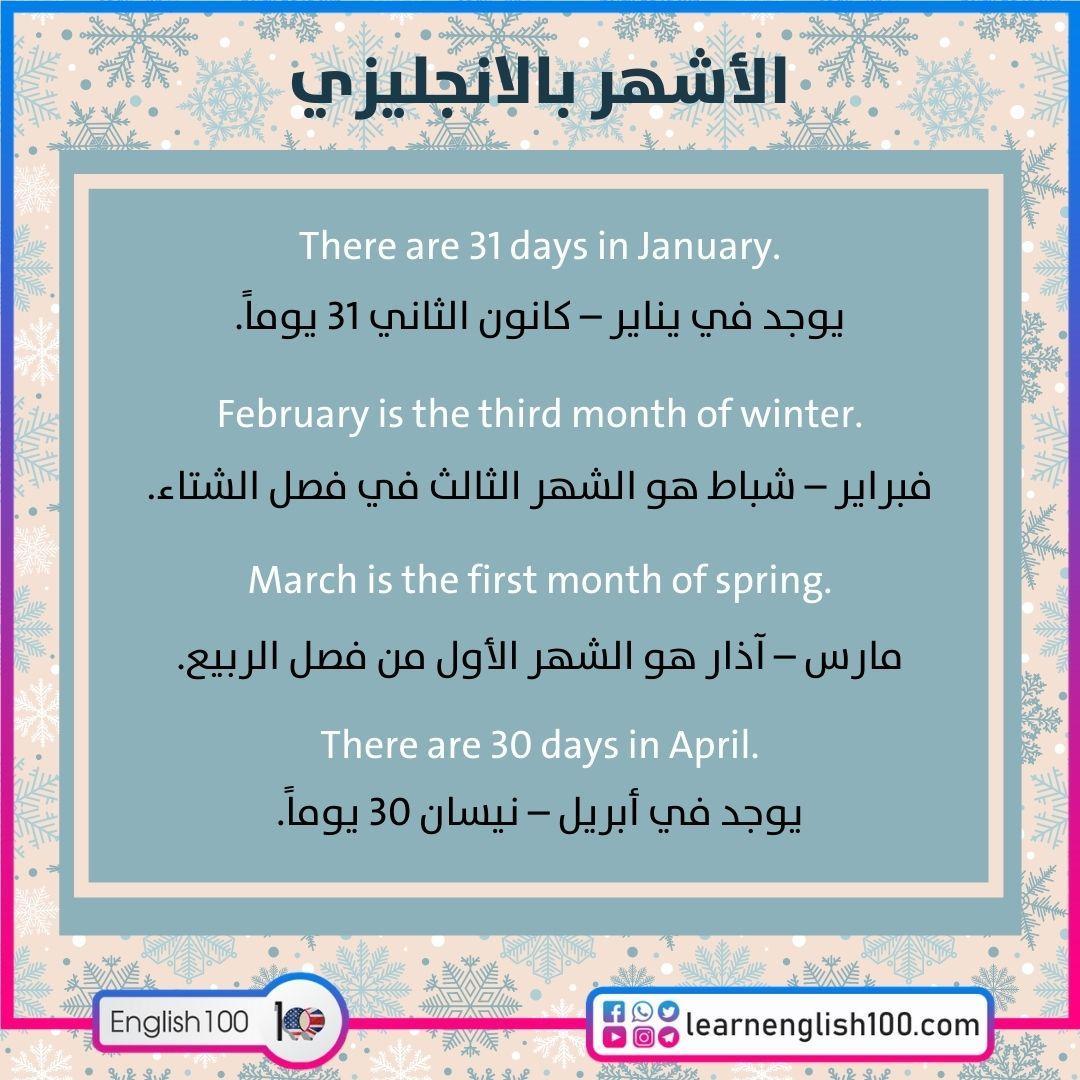 الأشهر بالانجليزي The Months in English