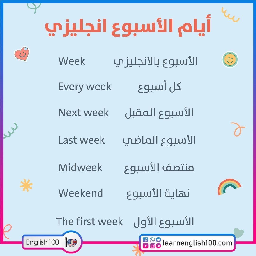 ايام الاسبوع انجليزي Days of the Week in English