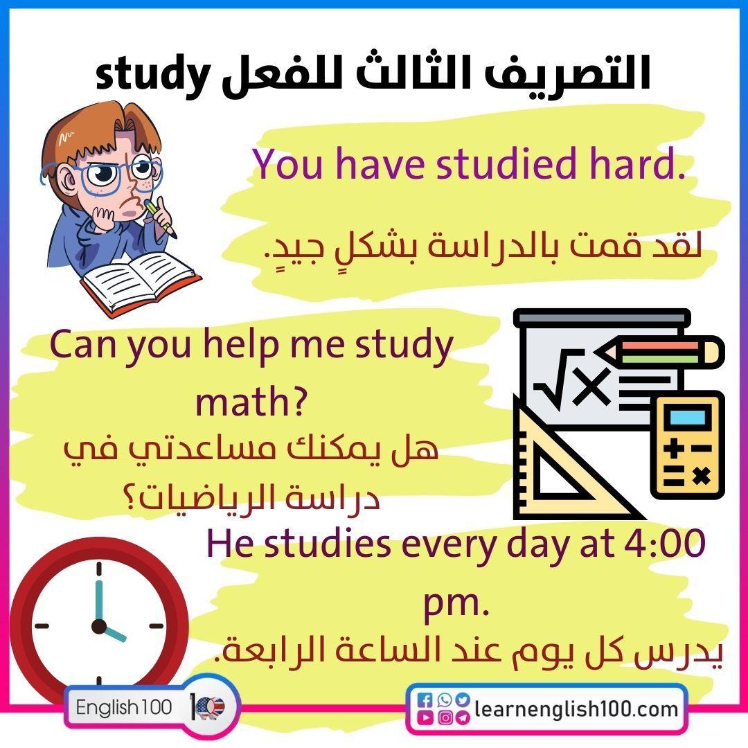 التصريف الثالث للفعل study Past-Participle-of-the-Verb-Study
