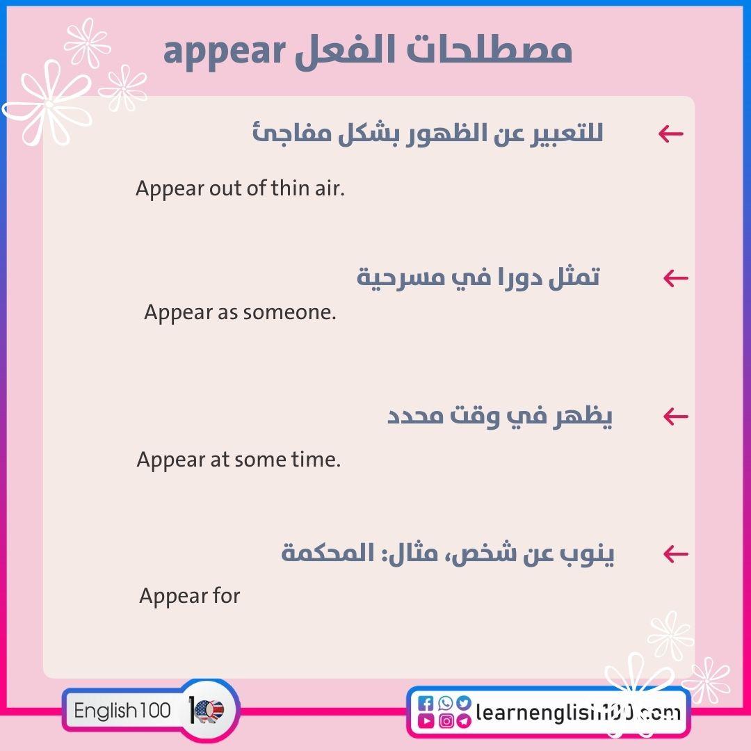 مصطلحات الفعل appear appear-idioms-phrasal-verbs