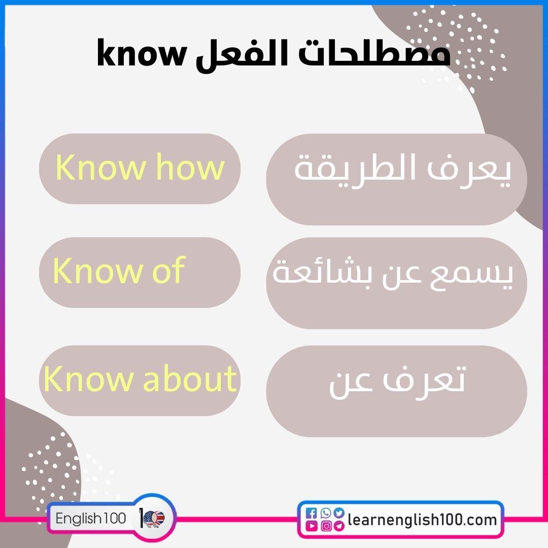 مصطلحات الفعل know know-idioms-phrasal-verbs