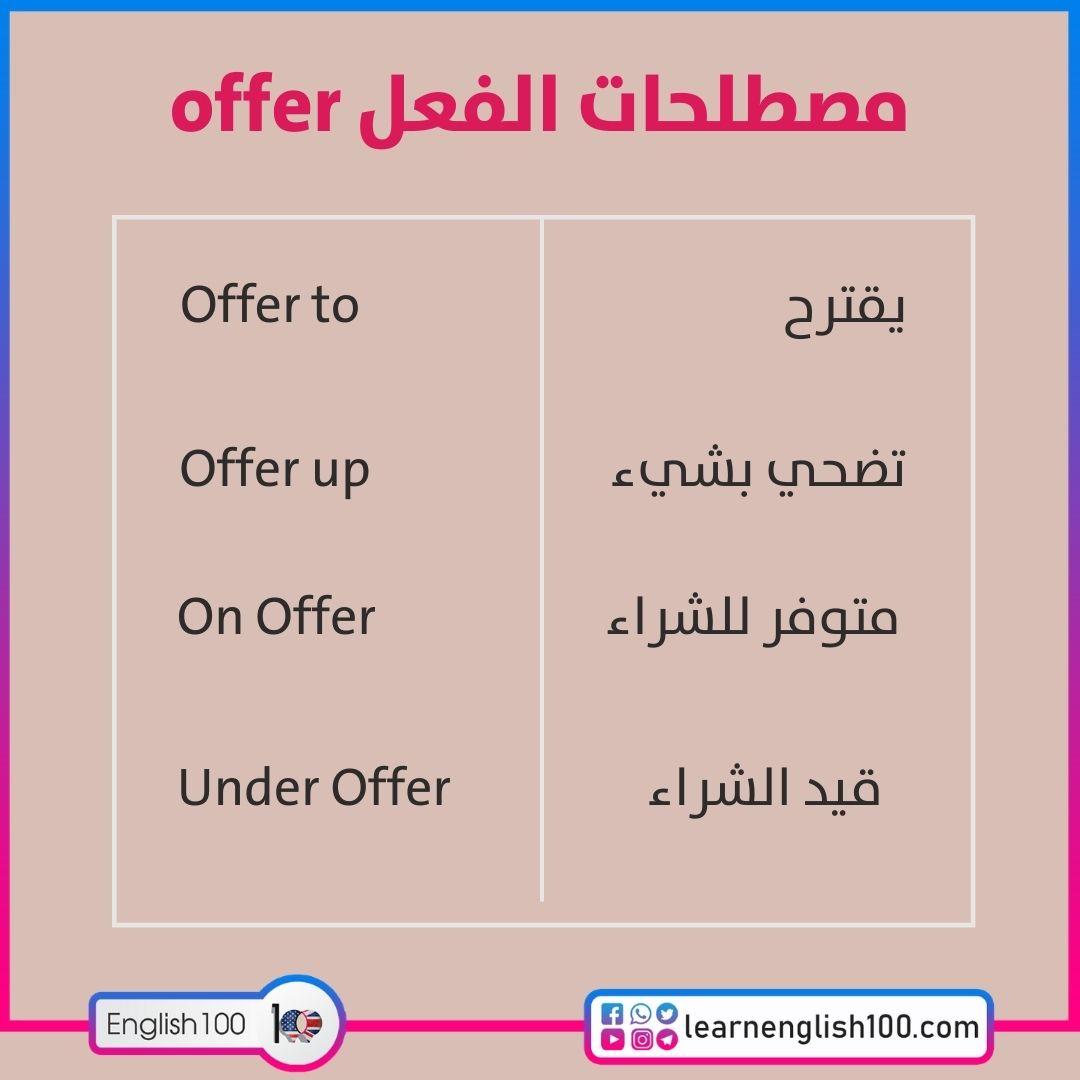 مصطلحات الفعل offer offer-idioms-phrasal-verbs with examples