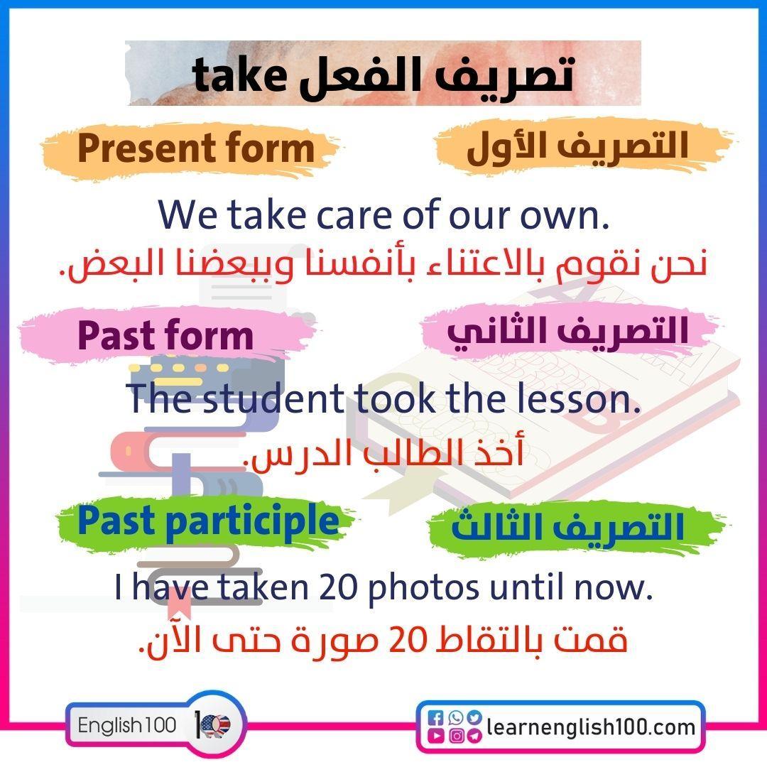 تصريف الفعل take The-Conjugation-of-the-Verb-Take