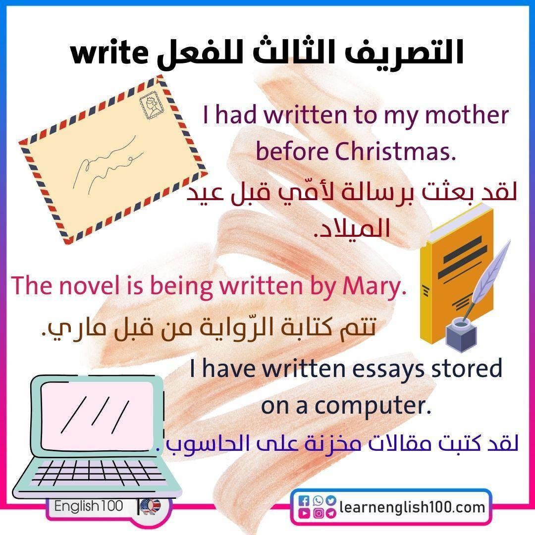 التصريف الثالث للفعل write The-Third-Conjugation-of-Write