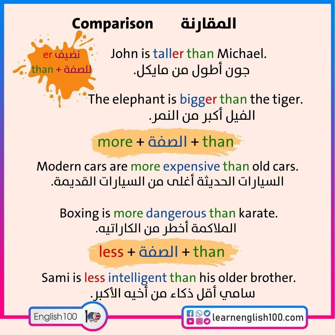 مقارنة بالانجليزي Comparison in English