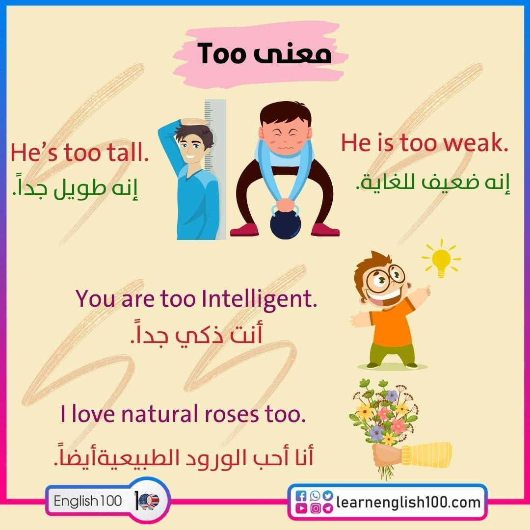 معنى too Meaning of the too