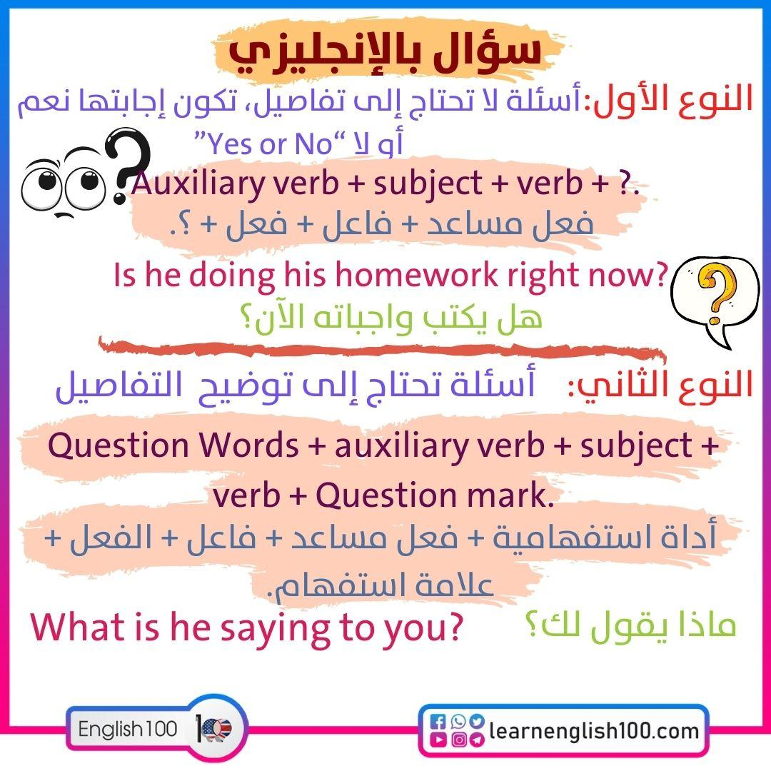 سؤال بالانجليزي Question in English