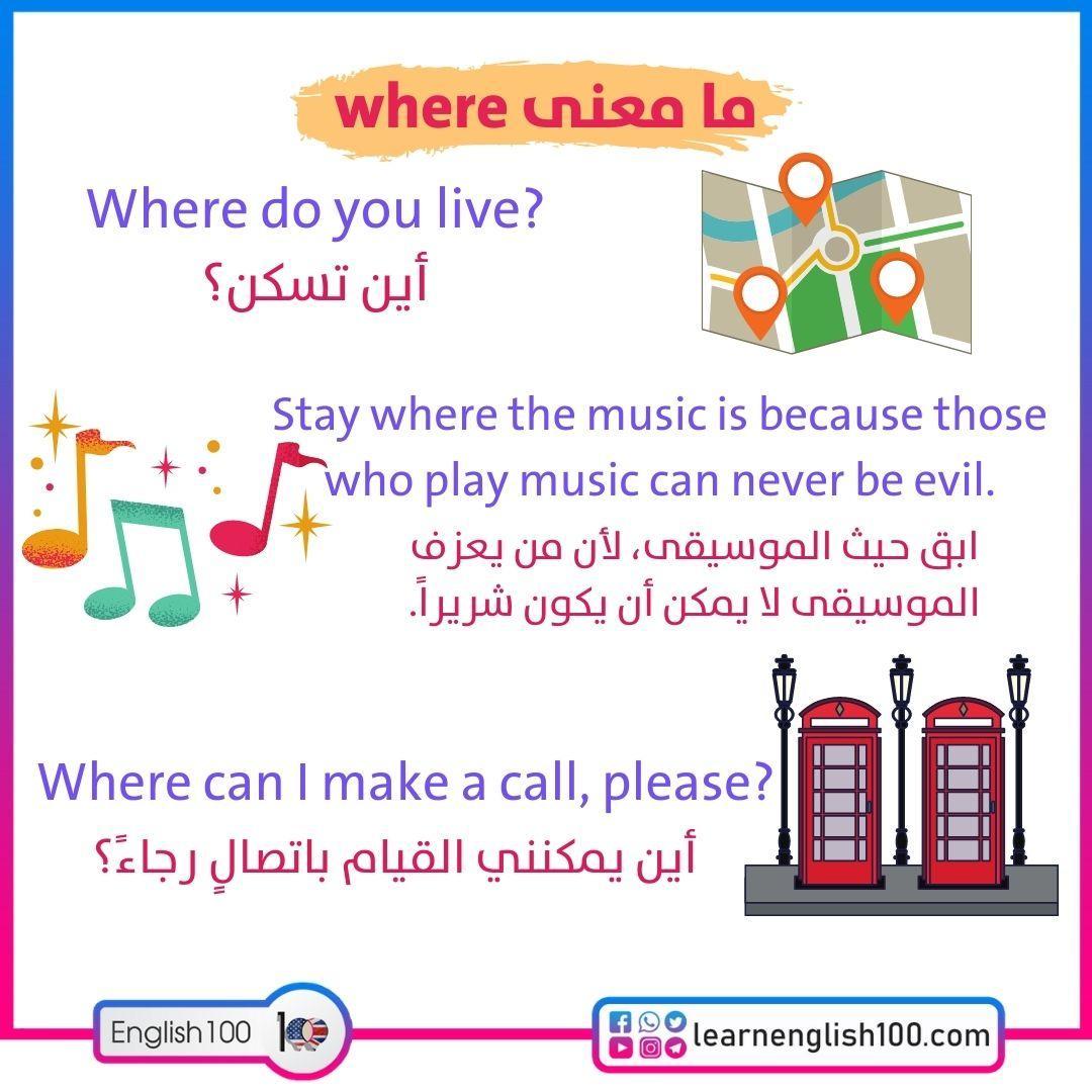 ما معنى where what is the meaning of WHERE