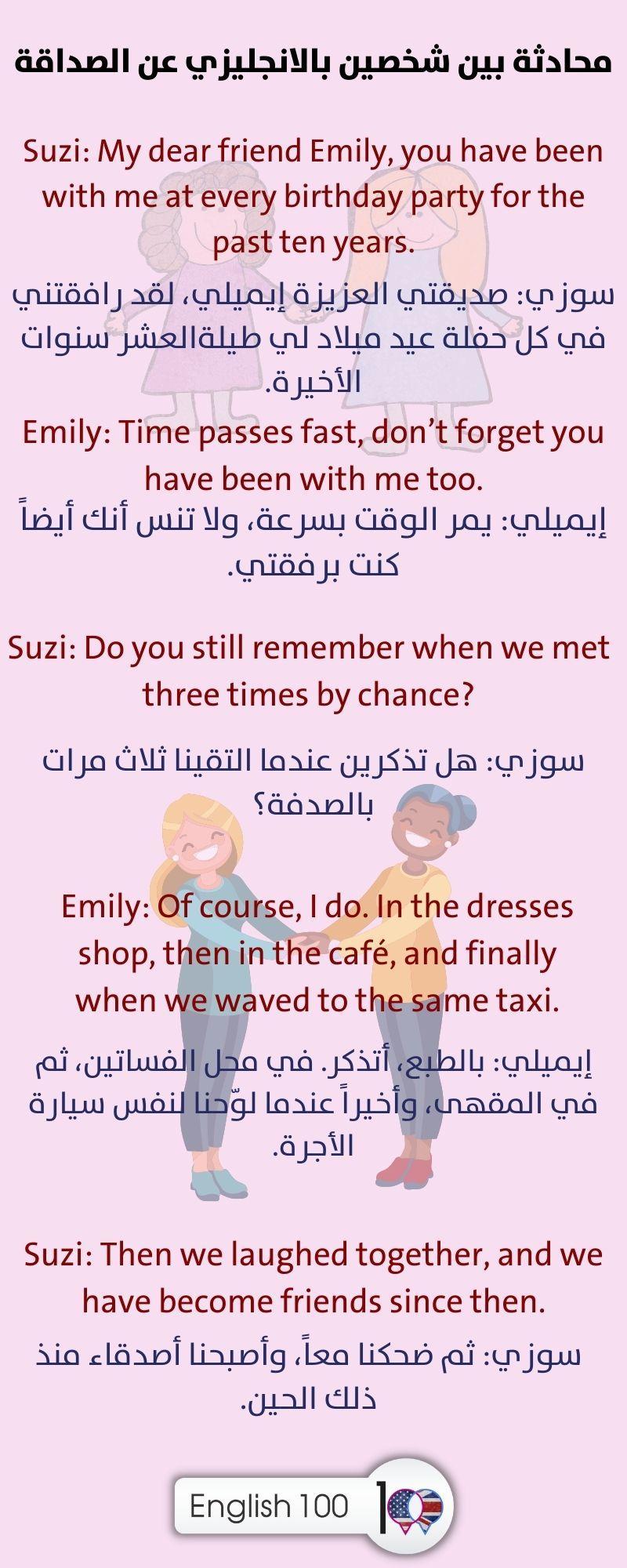 محادثة بين شخصين بالانجليزي عن الصداقة A Conversation between Two Persons in English about Friendship