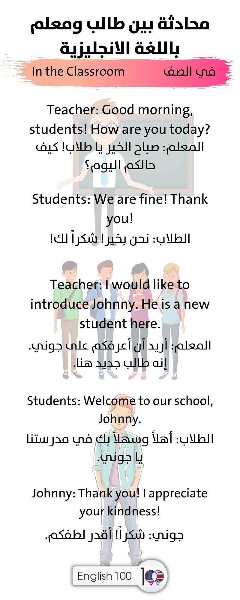 محادثة بين طالب ومعلم باللغة الانجليزية A Conversation between a Student and a Teacher in English