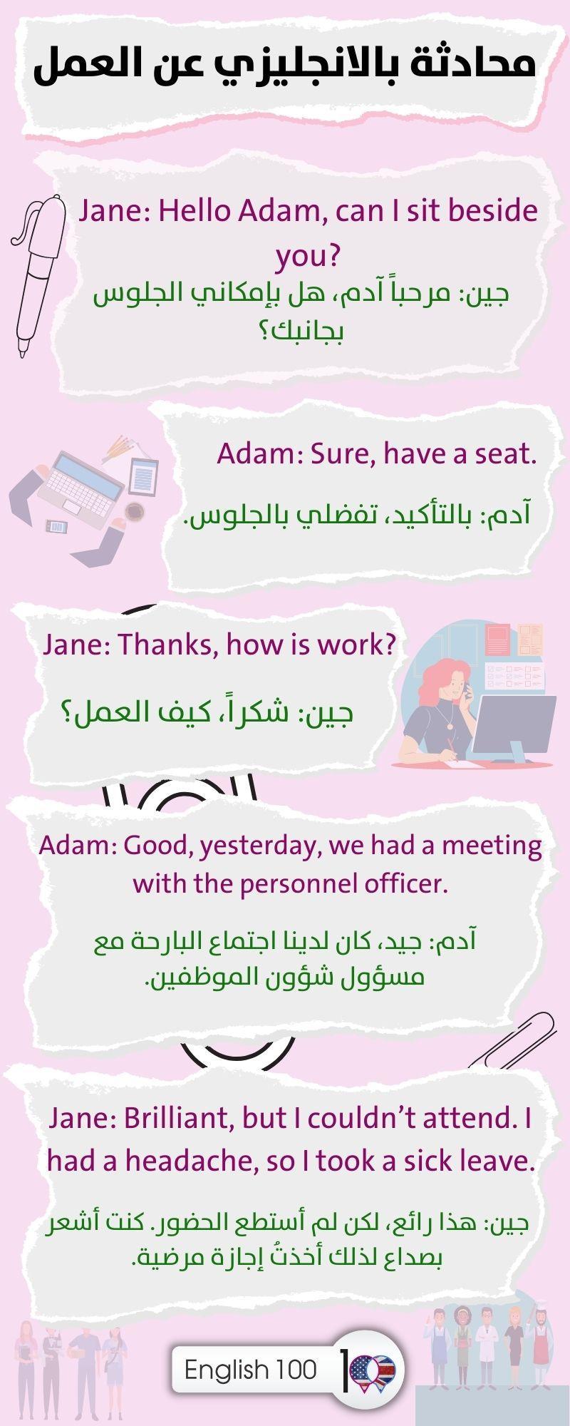 محادثة بالانجليزي عن العمل A conversation in English about Work