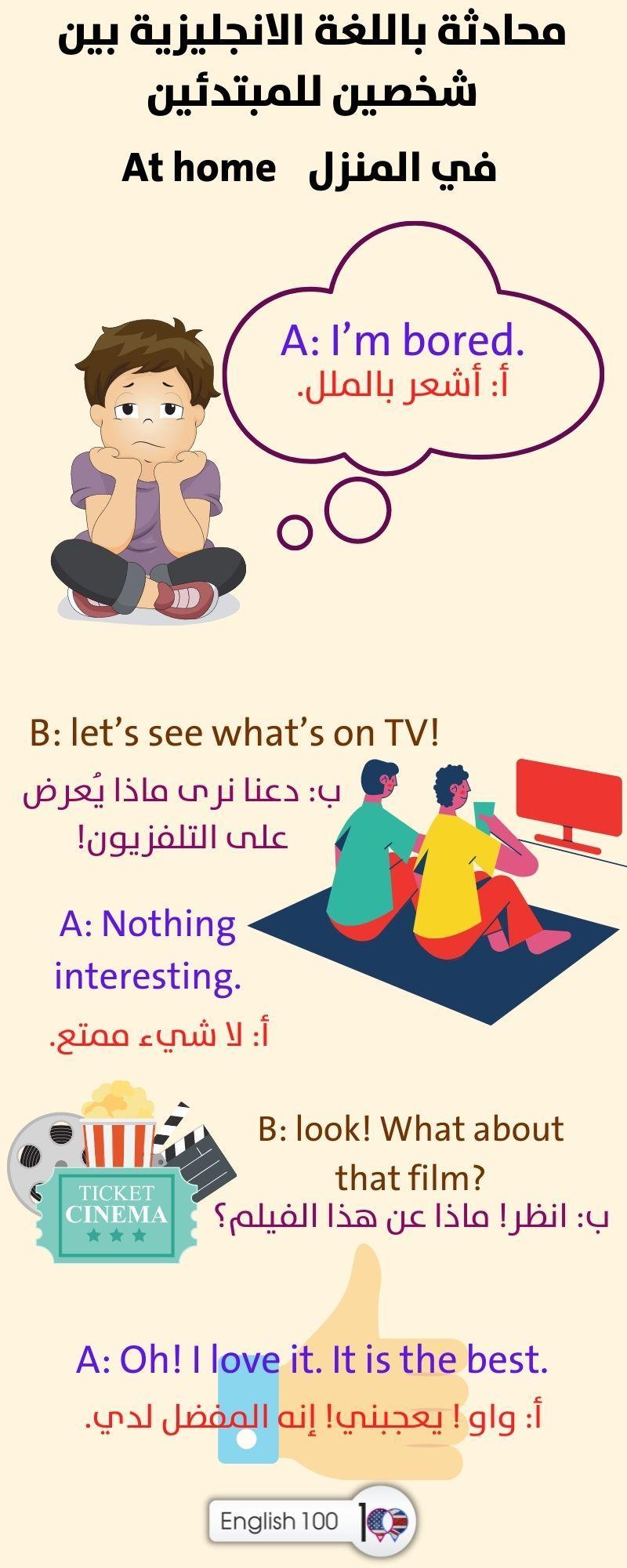 محادثة باللغة الانجليزية بين شخصين للمبتدئين Conversation between Two People for Beginners