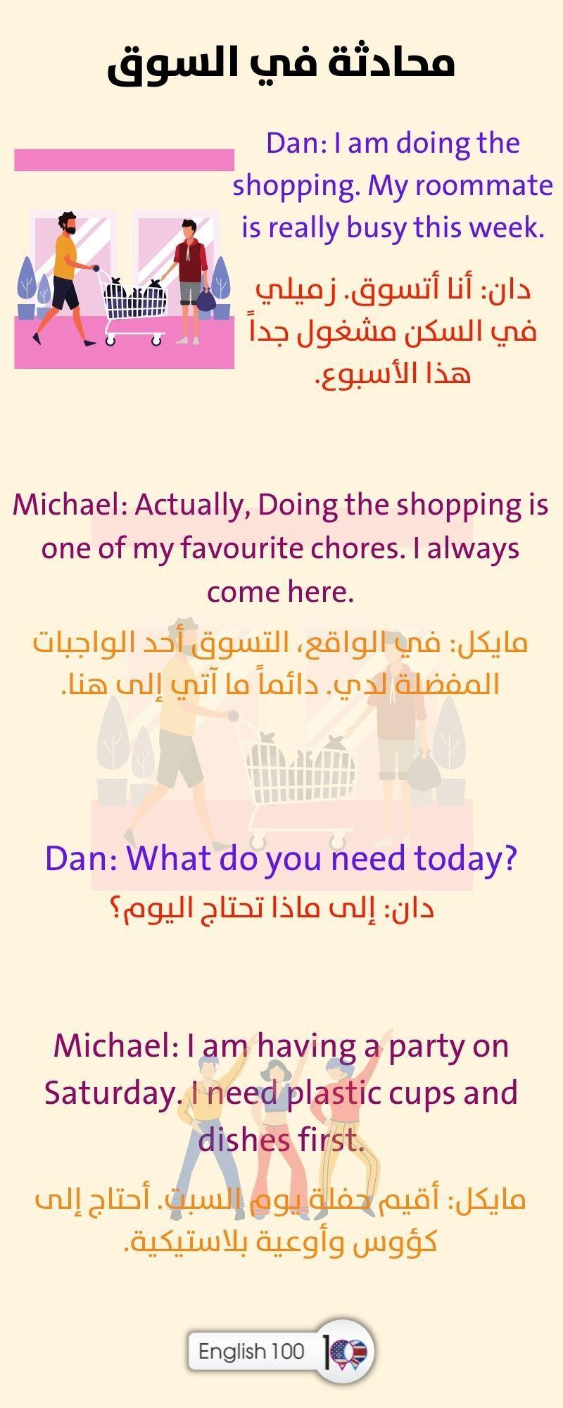 محادثة بين شخصين بالانجليزي في السوق Conversation between Two People in the Market