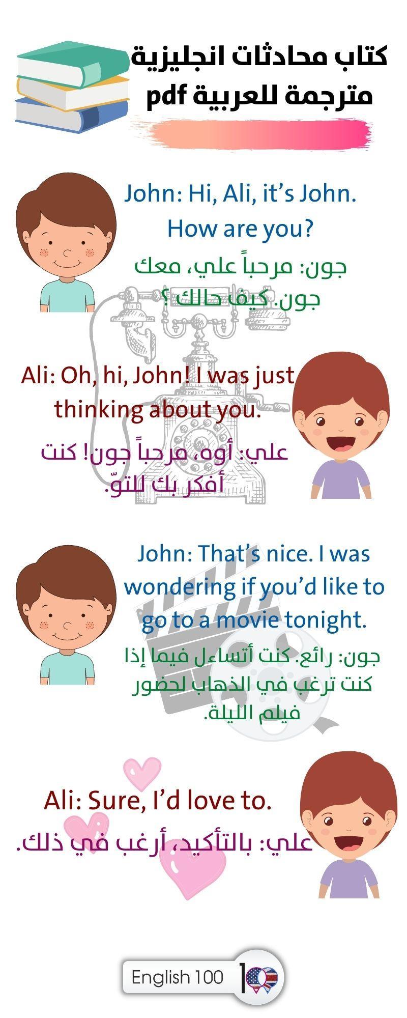 كتاب محادثات انجليزية مترجمة للعربية pdf English Conversations Book Translated into Arabic pdf