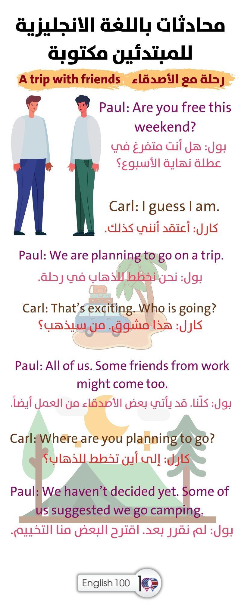 محادثات باللغة الانجليزية للمبتدئين مكتوبة Written English conversations for Beginners